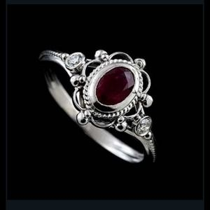 925 size 6 amesyth/ruby ring w two stones